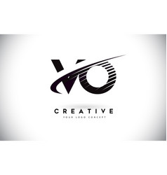 Vo v o letter logo design with swoosh and black vector
