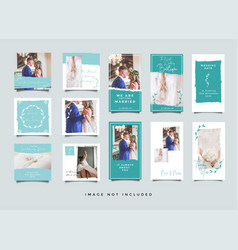 wedding instagram stories collection template vector image