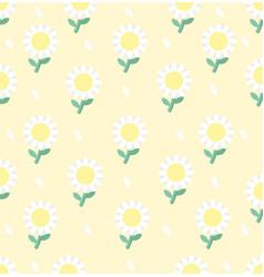 White daisy flower seamless pattern vector