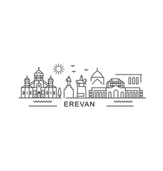 Yerevan minimal style city outline skyline vector