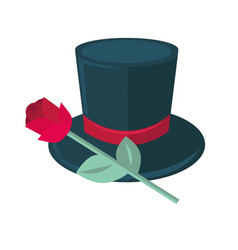 black top hat and rose isolated on white man tile vector image vector image