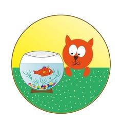 Cat watching fish in an aquarium vector image