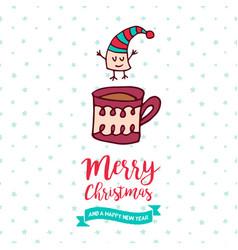 christmas and new year cute marshmallow cartoon vector image