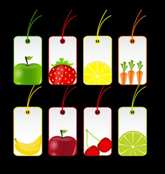 fresh fruits labels vector image vector image