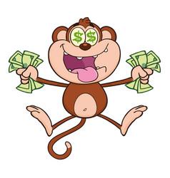 greedy monkey cartoon character jumping vector image vector image