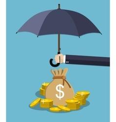 Hand holding umbrella under rain to protect money vector image vector image