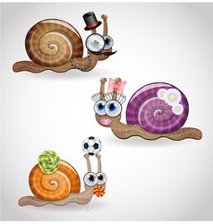 Isolated funny snails family vector image
