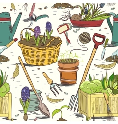 Seamless gardening tools pattern background vector image