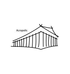 acropolis of athens black line vector image