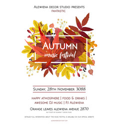 autumn season party festival invite poster banner vector image