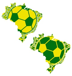 Brazil map soccer balls vector image vector image