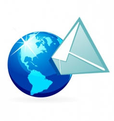 mail in globe vector image vector image