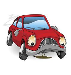 sad broken down cartoon car vector image vector image