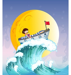 A girl reading on a boat at the top of the big vector image vector image