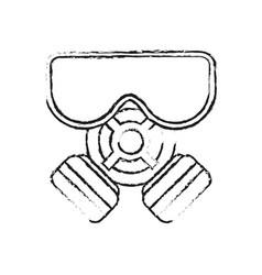 blurred silhouette cartoon gas mask protection vector image