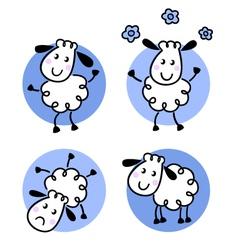 Cute doodle sheep collection vector