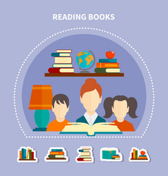 educational reading composition vector image