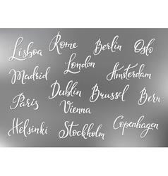 Europe capitals names set vector image