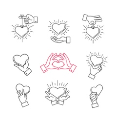 Lined hand love signs hands making heart shape vector image vector image