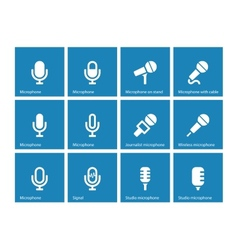 Microphone icons on blue background vector image