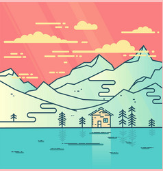 mountains water and cloudy sky flat vector image vector image