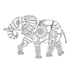 steam punk style elephant coloring book vector image