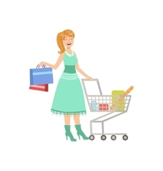 Woman Shopping With Cart And Paper Bags vector image
