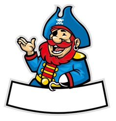 cartoon of pirate captain vector image vector image