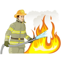 Firefighter with a fire hose against a fire vector image