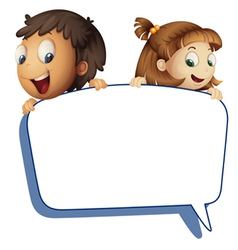 girl and boy holding callout picture vector image