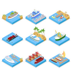 isometric ships and boats set with cruise vector image