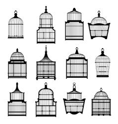 se of vintage birdcages 03 vector image