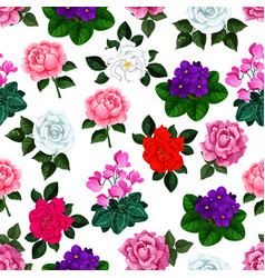 seamless pattern of garden flowers bouquets vector image vector image