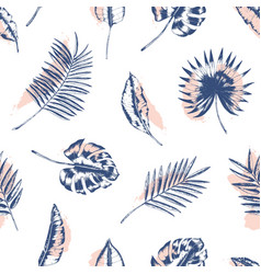 tropical seamless pattern with palm tree monstera vector image