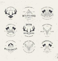 wildlife hunters logo set vector image vector image