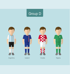2018 soccer or football team uniform group d vector image