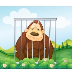 A gorilla in cage vector