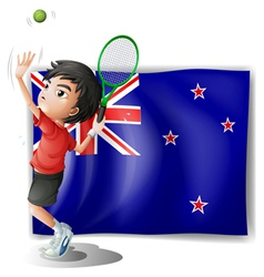 a young tennis player in front new zealand vector image