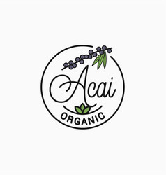 Acai branch logo round linear superfood vector