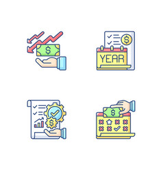 Accounting rgb color icons set vector