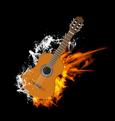 acoustic guitar on fire and water vector image