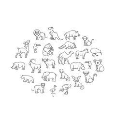 animal icons Zoo Animals vector image