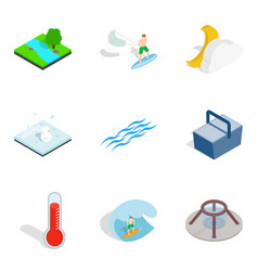 Aqua icons set isometric style vector