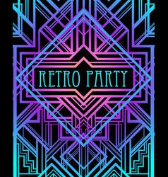 art deco vintage pattern in bright neon colors vector image