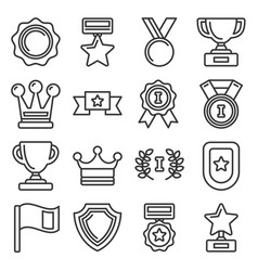 awards and trophy icons set line style vector image