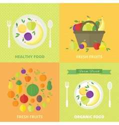 banners card with fresh fruits and berries vector image