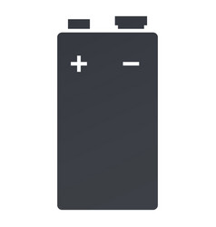 Black silhouette icon 9v battery vector