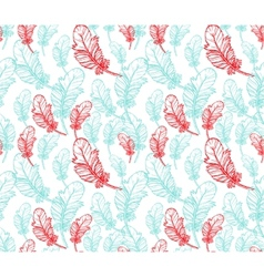 Blue and pink feathers seamless pattern vector image