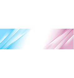 Blue and pink smooth gradient stripes abstract vector