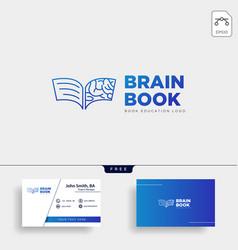 Book brain education line logo template icon vector